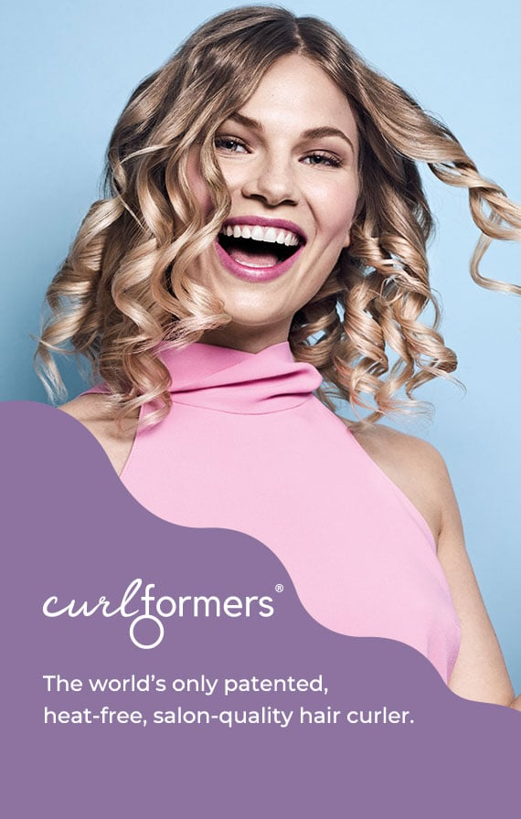 hair styled with curlformers barrel curls