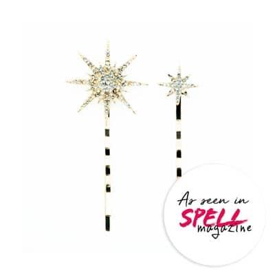 Estrella Flair horquillas para el cabello como se ve en la revista Spell