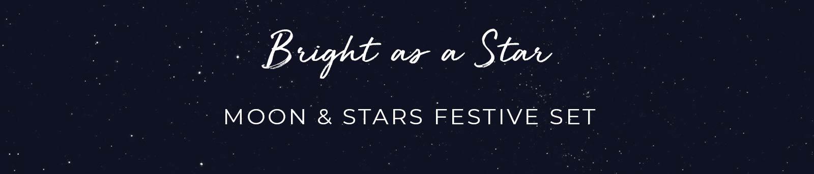 Brillante como un conjunto festivo de estrellas, luna y estrellas