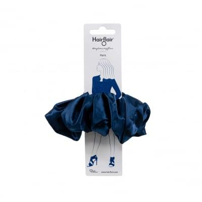 Scrunchy extragrande de satén azul marino de Paris