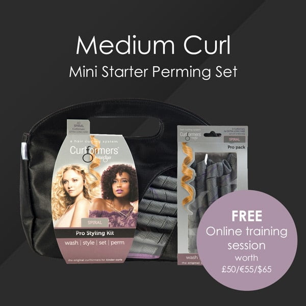 HairFlair Pro Medium Curl Mini Starter Perming Set, que incluye Spiral Curlformers® Kit de peinado y paquete de recarga con una sesión de formación online GRATUITA