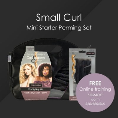 HairFlair Pro Small Curl Mini Starter Perming Set, comprising Corkscrew Curlformers® Styling Kit and Top up Pack with a FREE Online Training session