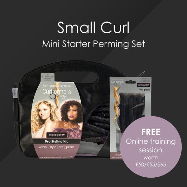 HairFlair Pro Small Curl Mini Starter Perming Set, que incluye sacacorchos Curlformers® Kit de peinado y paquete de recarga con una sesión de formación online GRATUITA